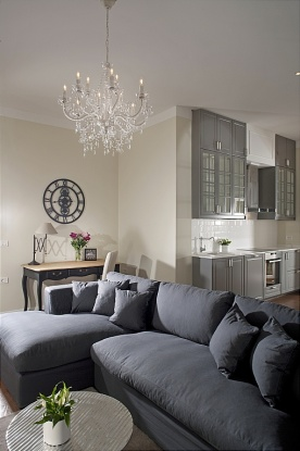 Here Is A Good Example Of Connecting Living Room And Kitchen Space By Removing The Wall That Separated Them Grey Colour Scheme From Area Nicely